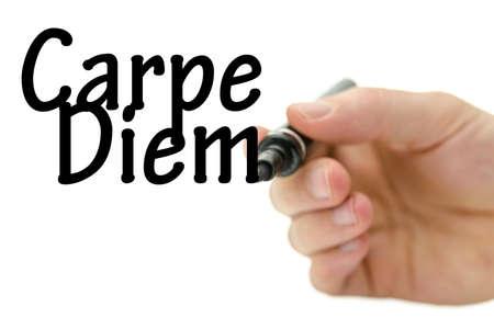 carpe diem: Writing Carpe diem on virtual whiteboard.
