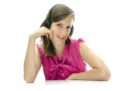 Attractive female call center employee. Isolated over white background. photo