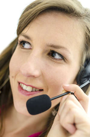 Portrait of young female business customer support operator. photo