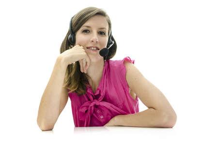 Female call center employee. Isolated over white background. photo