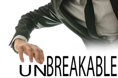 unbreakable: Changing word Unbreakable into Breakable by pushing away letters un.