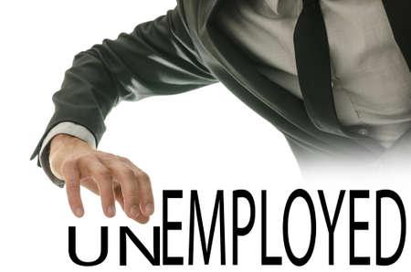 empleadas: Cambio de palabra Desempleados en Empleado por apartando las cartas de la ONU. Foto de archivo