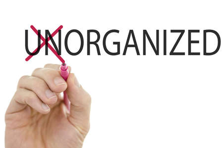 order chaos: Changing word Unorganized into Organized by crossing off letters un.