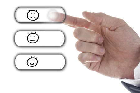 Hand choosing Poor icon on customer satisfaction survey. photo