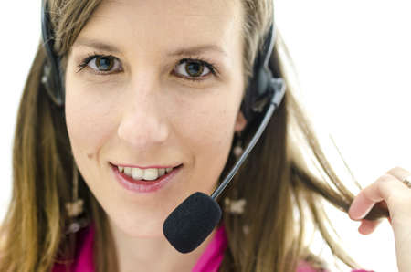Portrait of young attractive customer service representative  photo