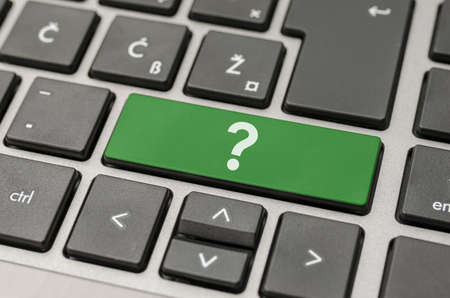computer support: Green question mark key on computer keyboard  Stock Photo