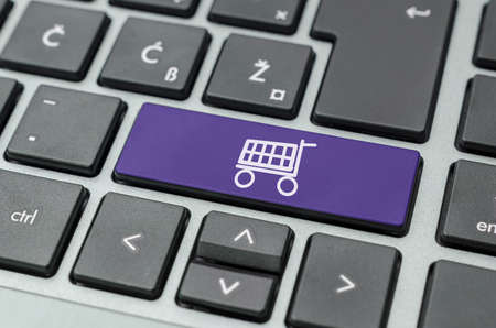 Shopping cart on computer keyboard  Concept of online shopping  Stock Photo - 20585297