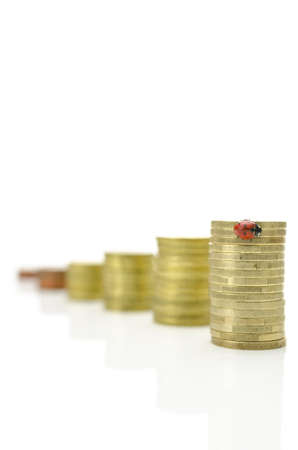 Growing stacks of coins with ladybug sitting on tallest one Stock Photo - 20824758