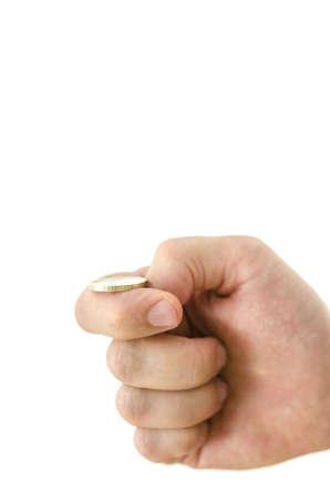 m�nzenwerfen: M�nnliche Hand eine M�nze werfen. Isolierte �ber wei�em Hintergrund. Geringe Sch�rfentiefe. Lizenzfreie Bilder