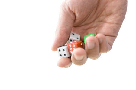 entertainment risk: Male hand holding dices  Gambling concept  Isolated over white background