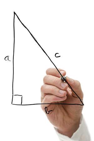 Teacher drawing right triangle on virtual whiteboard explaining Pythagorean theorem. Stock Photo