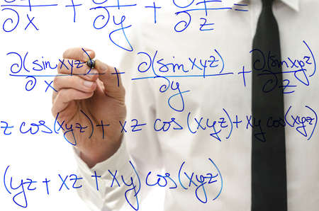 College teacher writing complicated mathematical equation on virtual whiteboard. photo
