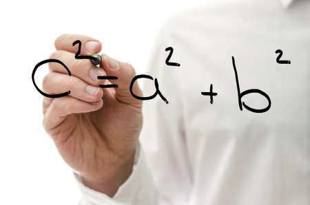 algebraic: Closeup of writing Pythagorean theorem on virtual board.