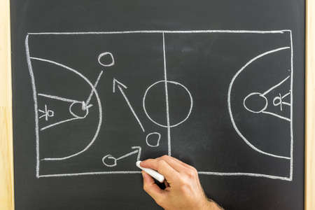 tactic: Closeup of basketball coach drawing game tactic on black board.