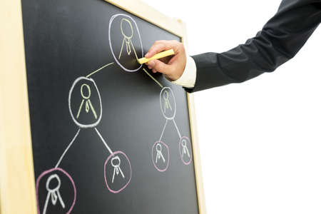 Businessman drawing business hierarchy or network of people on black board. photo