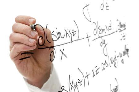 trigonometry: Closeup of writing complicated mathematical equation on virtual screen. Science concept.