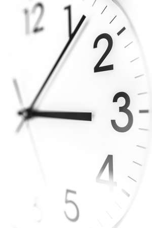 Closeup of white wall clock. Time concept. photo