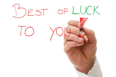 good fortune: Male hand writing text Best of luck to you! on a virtual whiteboard. Stock Photo