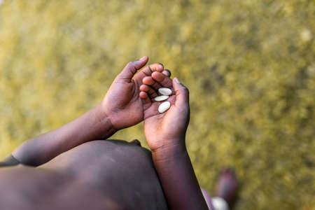 african solidarity: Top view of poor african child hands holding three white beans. Concept of Hunger in Africa.