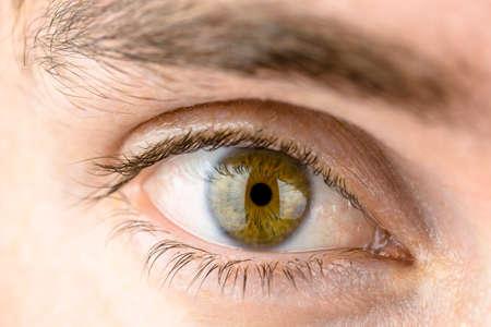 globo ocular: Estudio macro foto de mans ojo. Foto de archivo