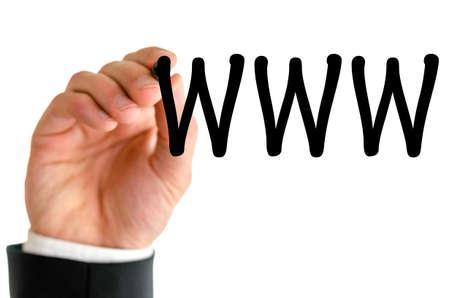 worldwideweb: Closeup of businessman writing www on virtual screen with black marker.