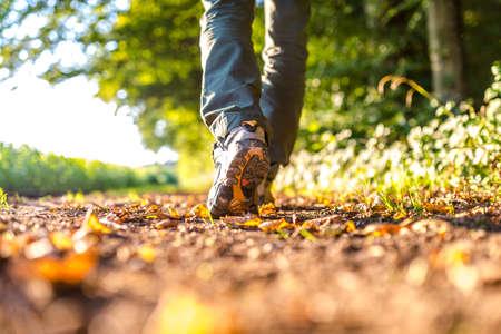 자연에서 하이킹 남성 다리의 근접 촬영입니다.