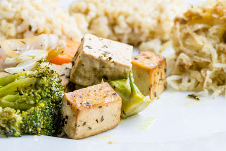 macrobiotic: Closeup of healthy macrobiotic meal made of tofu with vegetables and organic brown rice.