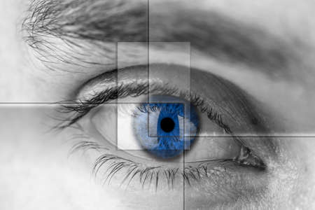 Blue eye with virtual hologram. Medicine and vision concept. Stock Photo - 22639166