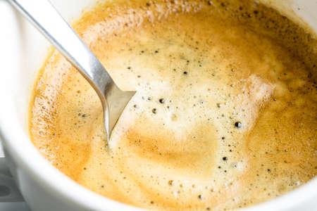 stimulant: Closeup of fresh strong espresso coffee.