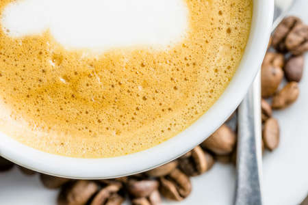 stimulant: Top view of delicious fresh cafe latte.