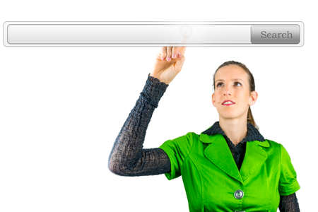 searchbar: Businesswoman pointing at empty search bar on virtual screen.