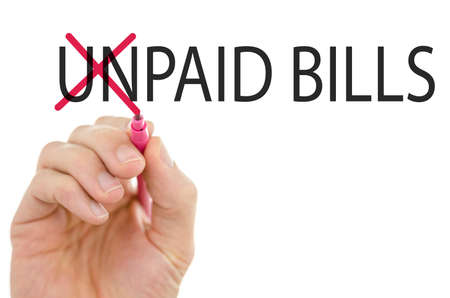 unpaid: Changing phrase Unpaid bills into Paid bills by crossing off letters un.