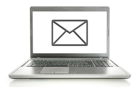 email us: Laptop with mail icon  Email contact concept  Stock Photo