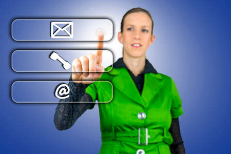 Woman choosing between three contacts. Mail, Email and Phone. photo
