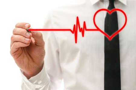 hiebe: Zeichnung Herz schlagen kardiograph auf virtuellen Bildschirm.