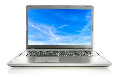 saver: Open laptop with sky screen saver isolated over white background. Stock Photo