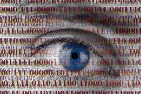 spy: Closeup of human eye with digital binary code. Concept of internet spying. Stock Photo