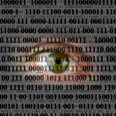 Closeup of human eye with digital binary code. Concept of internet spying. Stock Photo - 23678805