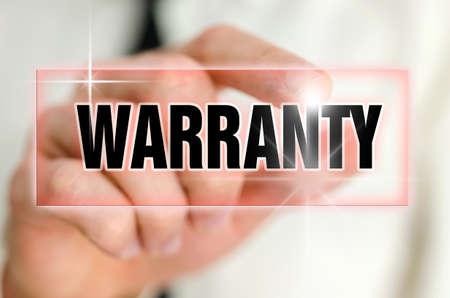 contractual: Pressing warranty button on virtual screen. Stock Photo