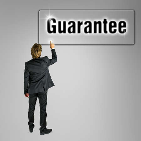 collateral: Businessman pressing Guarantee button on virtual interface