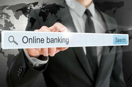 Online banking written in search bar on virtual screen
