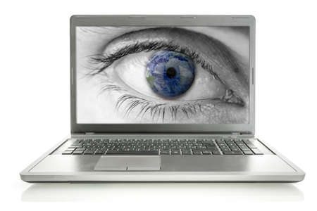 Planet Earth in human eye on laptop screen  Concept of global online surveillance  Elements of this image furnished by NASA  Stock Photo - 23807804
