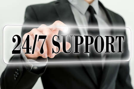 available time: 247 Support icon on virtual screen.