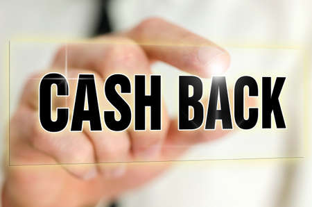 cash back: Cash back icon on virtual screen.