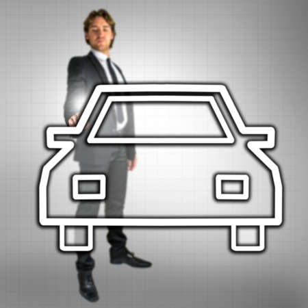 dealership: Businessman pointing at car icon on virtual screen. Concept of car dealership business.