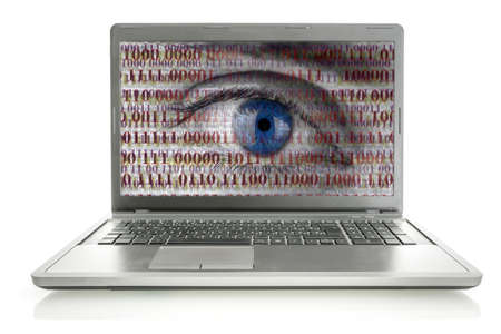 online privacy: Human eye with digital binary code on laptop monitor. Concept of internet spying and security. Isolated over white background. Stock Photo