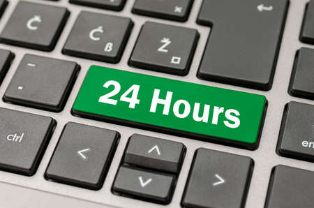 available time: Green computer button with 24 Hours sign.