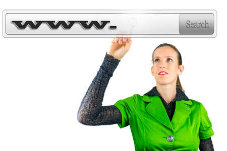 Young woman choosing virtual search bar with www written in it. Stock Photo - 24138376