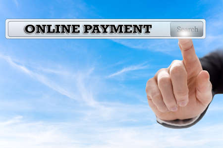 online trading: Online payment written in search bar on virtual screen.