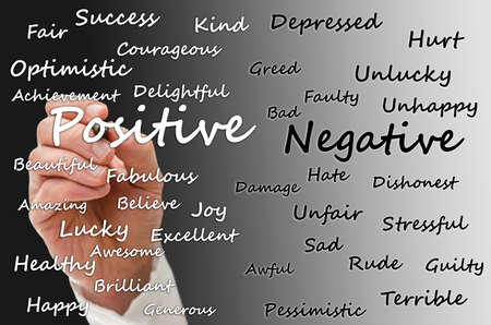Writing positive and negative aspects of life on virtual board. Banco de Imagens - 24360862